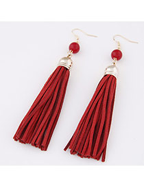 Elegant Red Beads Decorated Tassel Pendant Design  Alloy Korean Earrings