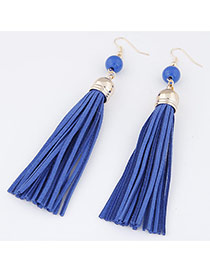 Elegant Sapphire Blue Beads Decorated Tassel Pendant Design  Alloy Korean Earrings