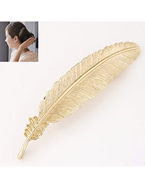 Prsonality Gold Color Feather Shape Simple Design
