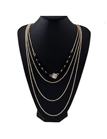 Fashion Gold Color Square Shape Decorated Multilayer Design Alloy Bib Necklaces