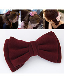 Sweet Claret-red Pure Color Bowknot Shape Design  Alloy Hair clip hair claw