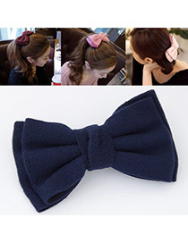 Sweet Navy Blue Pure Color Bowknot Shape Design  Alloy Hair clip hair claw