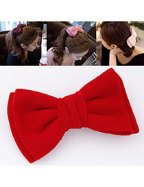 Sweet Red Pure Color Bowknot Shape Design Alloy Hair clip hair claw