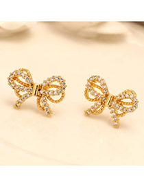 Sweet Gold Color Diamond Decorated Bowknot Shape Design(anti-allergy)  Cuprum Stud Earrings