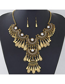 Retro Antique Gold Water Drop Shape Decorated Tassel Design  Alloy Jewelry Sets