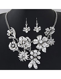 Retro Antique Silver Flower Decorated Simple Design
