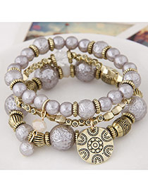 Sweet Gray Round Pendant Decorated Multilayer Design