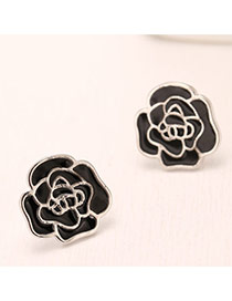 Personality Silver Color Rose Shape Decorated Simple Design(anti-allergy) Cuprum Stud Earrings