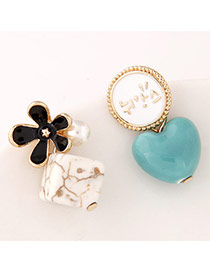 Personality Black+blue Flower&heart Shape Decorated Asymmetry Design