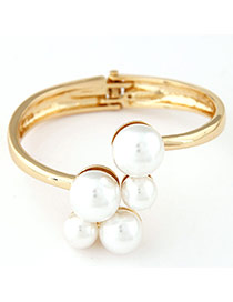 Elegance Gold Color Pearl Decorated Simple Design  Alloy Fashion Bangles
