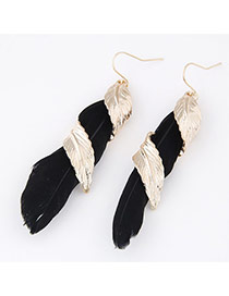 Personality Black Leaf &feather Weave Decorated Simple Design
