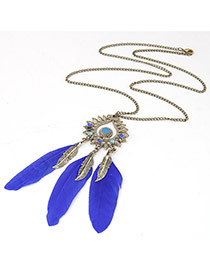 Personality Dark Blue Leaf Shape Decorated Feather Pendant Design