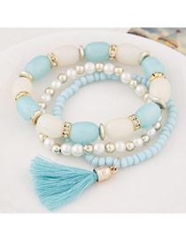 Fashion Light Blue Tassel&beads Decorated Multilayer Design