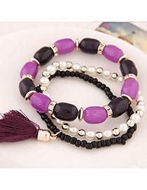 Fashion Purple Tassel&beads Decorated Multilayer Design Alloy Korean Fashion Bracelet