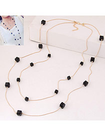 Fashion Black Square Diamond Decorated Double Layer Design Alloy Chains