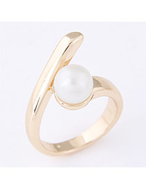 Sweet Gold Color Pearl Decorated Simple Design  Alloy Korean Rings