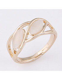 Sweet Gold Color Oval Gemstone Decorated Hollow Out Design  Alloy Korean Rings