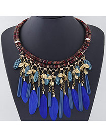 Temperament Gold Color Tassel Feather Decorated Double Layer Design Alloy Bib Necklaces