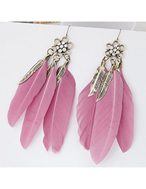 Personality Pink Flower Shape Decorated Three Feather Pendant Design Alloy Korean Earrings