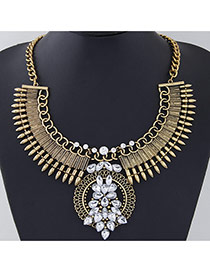 Exaggerate Gold Color Rivet&diamond Decorated Collar Design Alloy Bib Necklaces