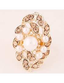 Sweet Champagne Pearl Decorated Flower Shape Design  Alloy Korean Rings