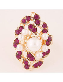 Sweet Purplish Red Pearl Decorated Flower Shape Design  Alloy Korean Rings