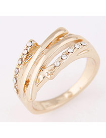 Personality Gold Color Diamond Decorated Simple Design  Alloy Korean Rings