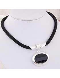 Fashion Silver Clor Round Gemstone Pendant Decorated Simple Design