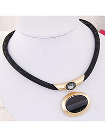 Fashion Gold Color Round Gemstone Pendant Decorated Simple Design