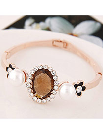 Sweet Light Coffee Oval Diamond&flower Decorated Simple Design  Alloy Fashion Bangles