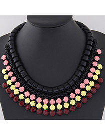 Fashion Claret-red Gemstone Decorated Multilayer Design Alloy Bib Necklaces