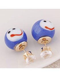 Cute Blue Smiling Face Pattern Decorated Round Shape Design  Alloy Stud Earrings