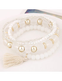 Elegant White Candy Color Beads Decorated Multilayer Design
