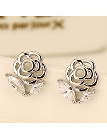 Sweet Silver Color Diamond Decorated Hollow Out Rose Flower Shape Design Cuprum Stud Earrings