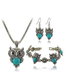 Temperament Blue Owl Shape Decorated Simple Design