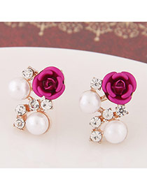 Sweet Plum Red Diamond&rose Flower Decorated Simple Design  Alloy Stud Earrings