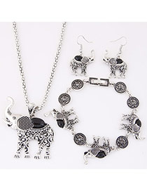 Cute Black Elephant Pendant Decorated Simple Design Alloy Jewelry Sets