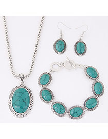 Temperament Green Oval Gemstone Pendant Decorated Simple Design Alloy Jewelry Sets