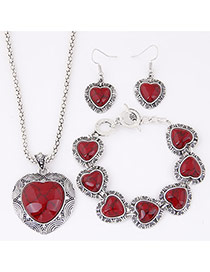 Temperament Red Heart Shape Gemstone Pendant Decorated Simple Design Alloy Jewelry Sets
