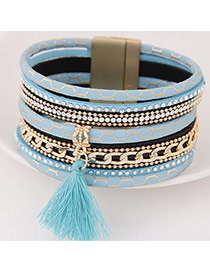 Temperamental Sky Blue Tassel Pendant Decorated Multilayer Design  Alloy Korean Fashion Bracelet