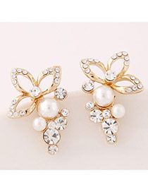 Sweet Gold Color+white Diamond Decorated Flower Design