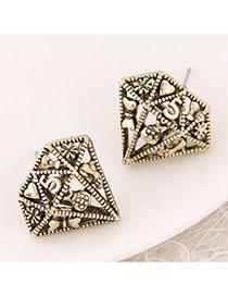 Retro Bronze Multi-element Pattern Hollow Out Diamond Shape Design