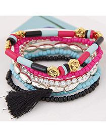 Fashion Black Beads&tassel Decorated Multilayer Design