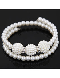 Fashion White Ball Shape Decorated Double Layer Design  Pearl Korean Fashion Bracelet