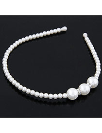 Fashion White Ball Shape Decorated Simple Design  Pearl Hair band hair hoop