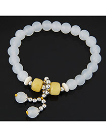 Fashion White Beads Decorated Simple Design  Alloy Korean Fashion Bracelet