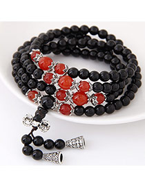 Fashion Black+orange Beads Decorated Multilayer Design