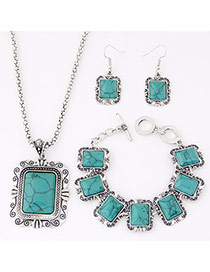 Fashion Blue Square Shape Decorated Simple Design