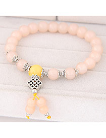 Sweet Pink Beads Decorated Simple Design  Rosin Korean Fashion Bracelet