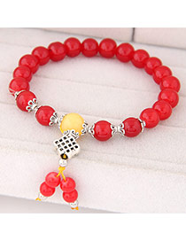 Sweet Red Beads Decorated Simple Design  Rosin Korean Fashion Bracelet